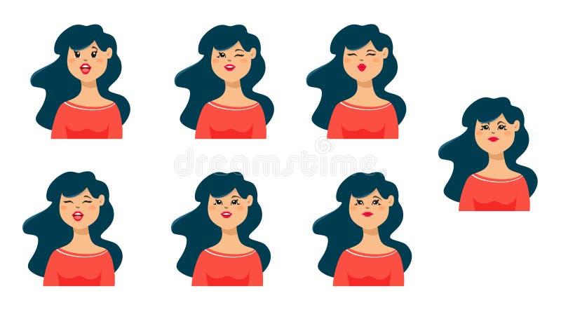 Kobieta z różnorodnymi wyrazami twarzy ustawiającymi odizolowywającymi t?a ilustracyjny rekinu wektoru biel royalty ilustracja