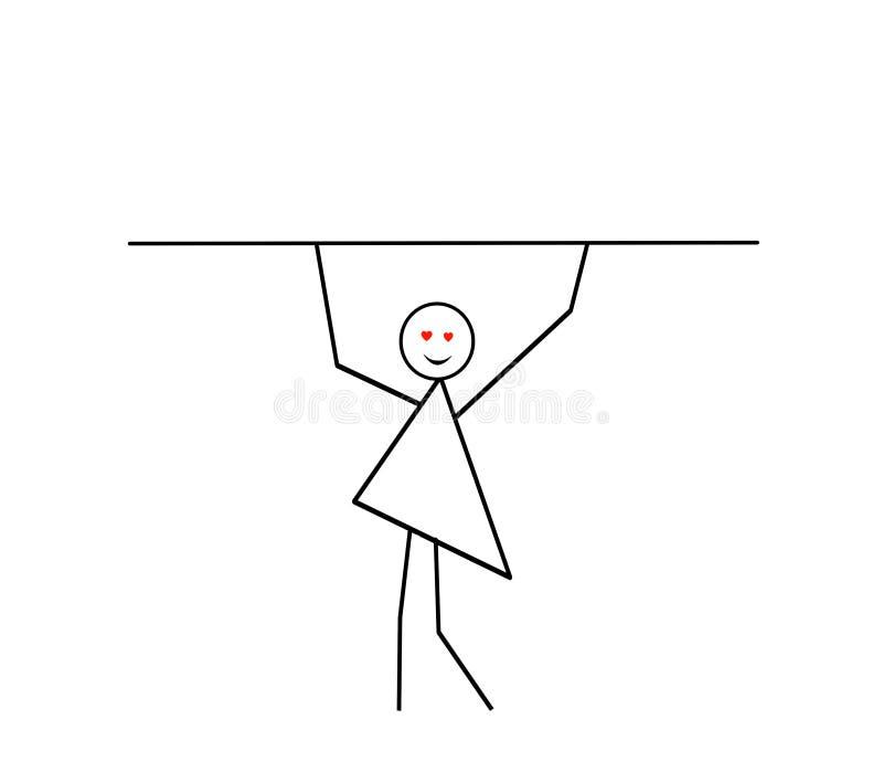 Kobieta z rękami podnosić niesie kij, bar, praforma wzór w czarnym ołówku na białym tle royalty ilustracja