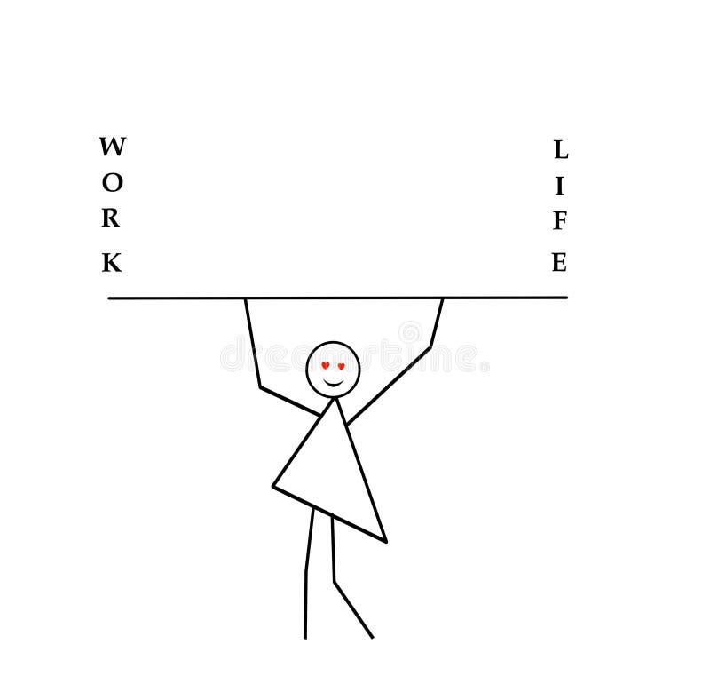Kobieta z rękami podnosić niesie kij, bar, wpisowa praca i życie, praforma wzór w czarnym ołówku na a ilustracji
