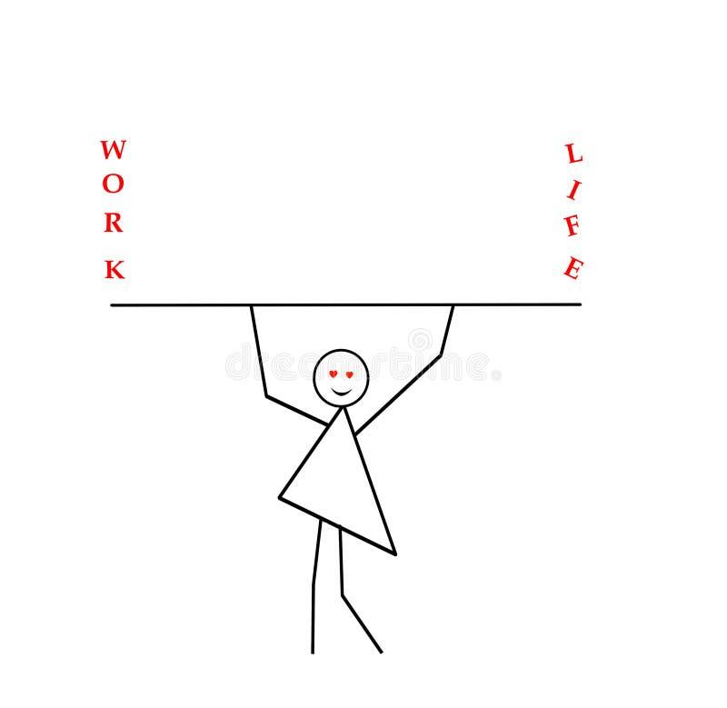 Kobieta z rękami podnosić niesie kij, bar, wpisowa praca i życie, praforma wzór w czarnym ołówku na a royalty ilustracja