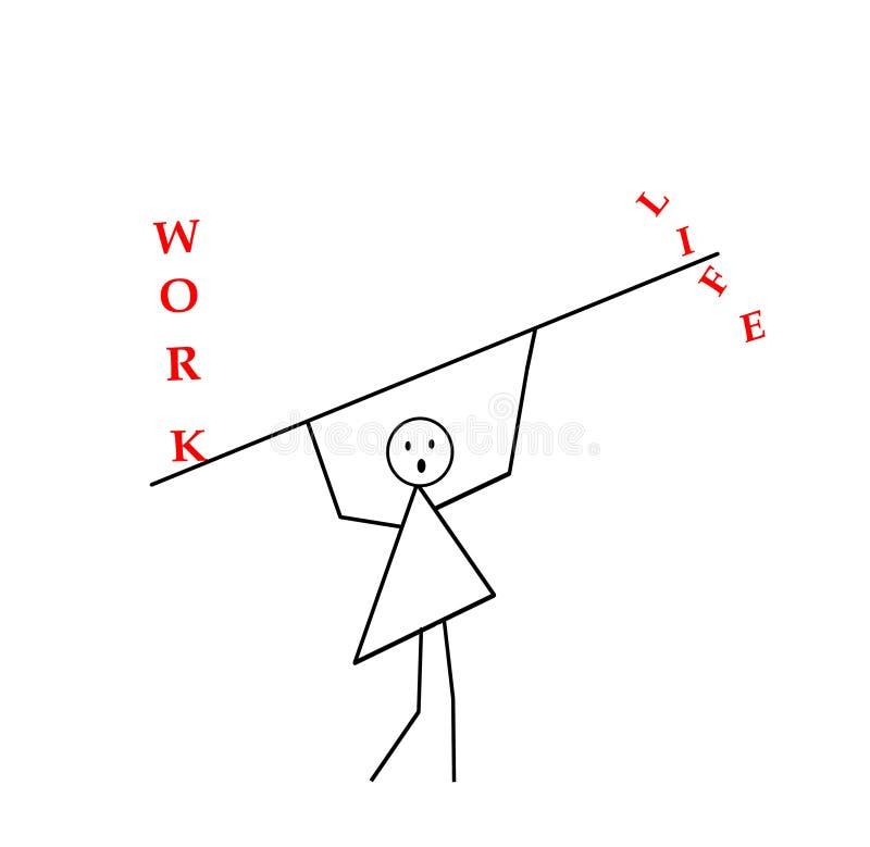 Kobieta z rękami podnosić niesie kij, bar, wpisowa praca i życie, praforma wzór w czarnym ołówku na a ilustracja wektor