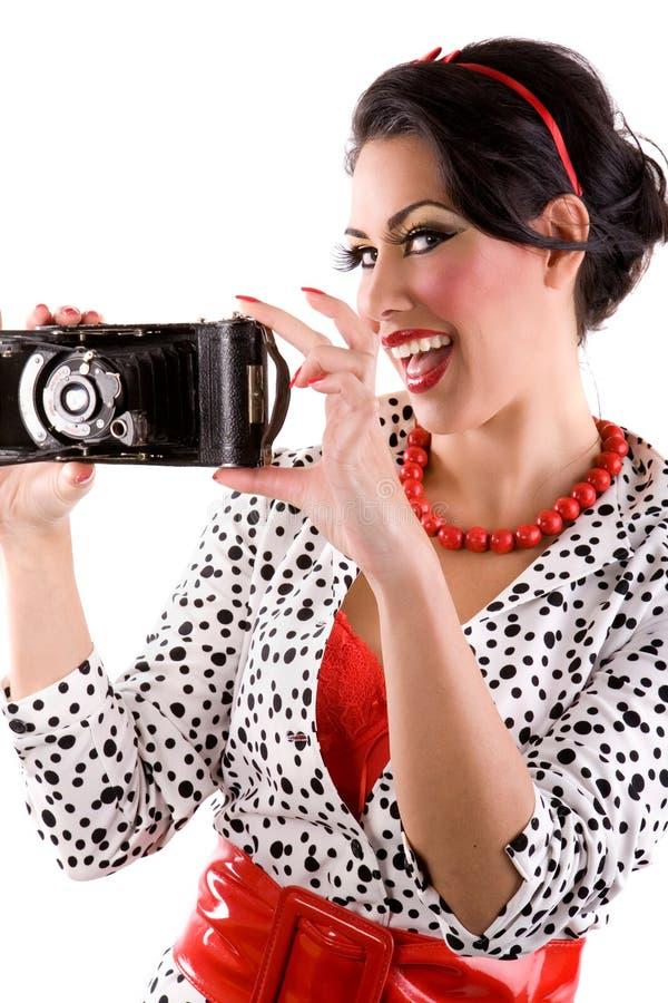Kobieta z retro kamerą fotografia royalty free