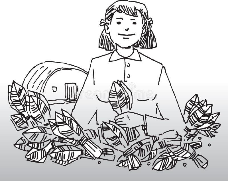 Kobieta z roślinami royalty ilustracja