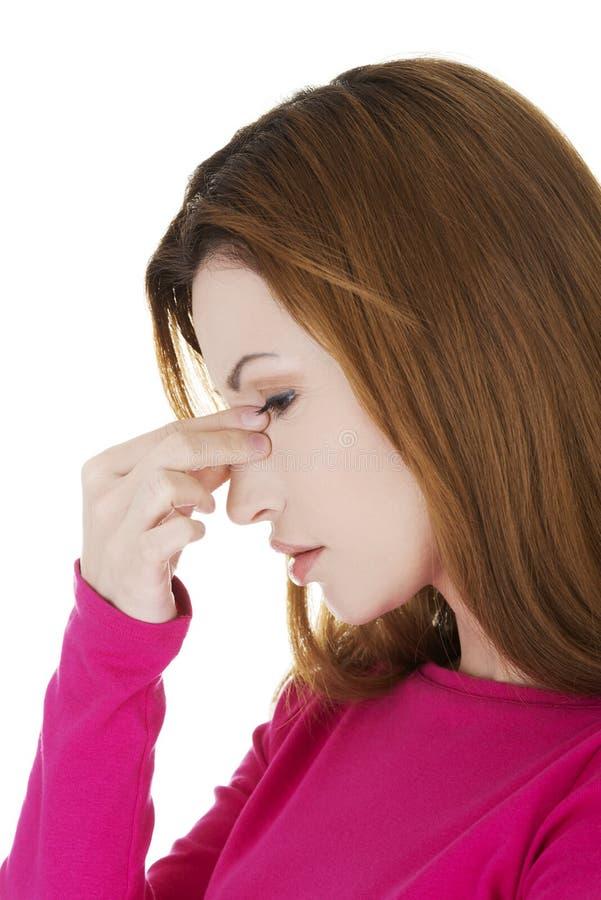 Kobieta z sinuses bólem obraz stock