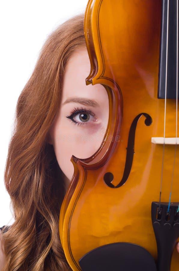 Kobieta z skrzypce zdjęcie royalty free