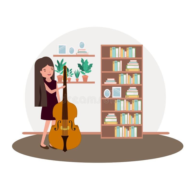 Kobieta z skrzypki w żywym izbowym avatar charakterze ilustracji
