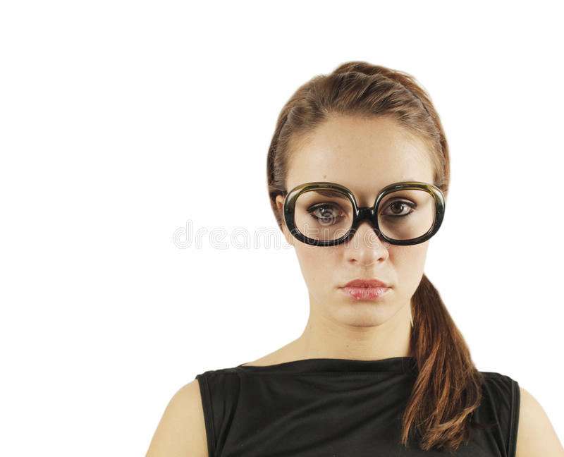 Kobieta z szkłami fotografia stock