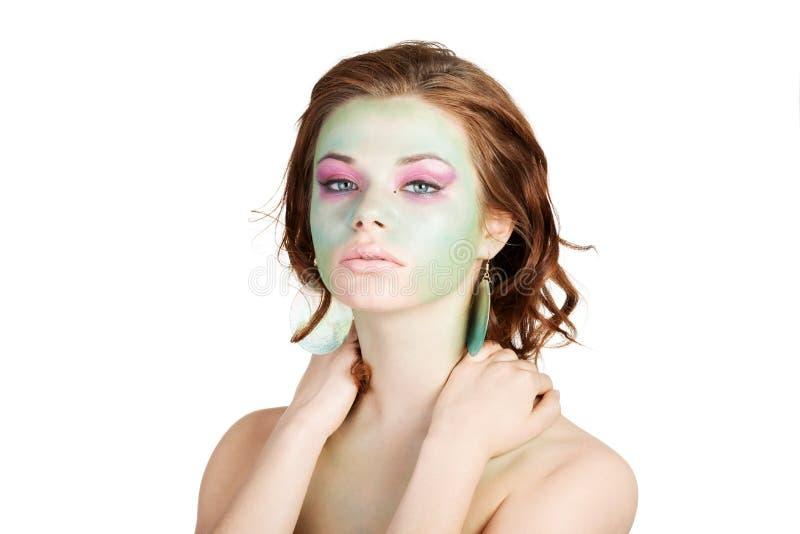 Kobieta z sztuka makijażem obraz stock