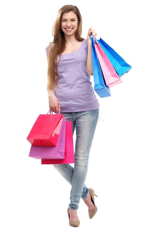Download Kobieta z torba na zakupy zdjęcie stock. Obraz złożonej z beztroski - 30444750