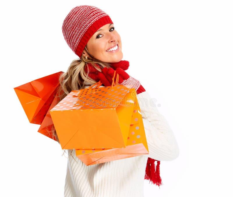 Kobieta z torba na zakupy obraz royalty free