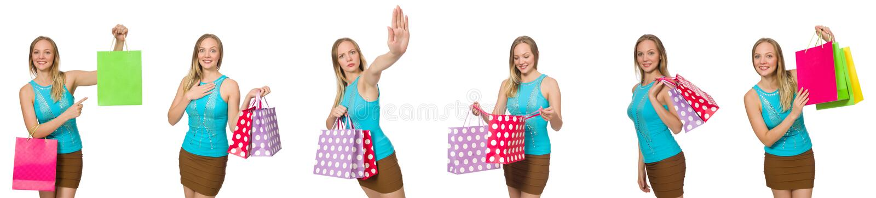 Kobieta z torba na zakupy zdjęcie royalty free
