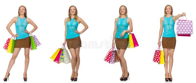 Kobieta z torba na zakupy obraz stock