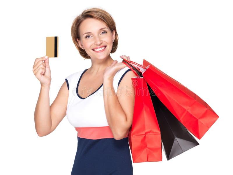 Kobieta z torba na zakupy i kredytową kartą zdjęcie stock