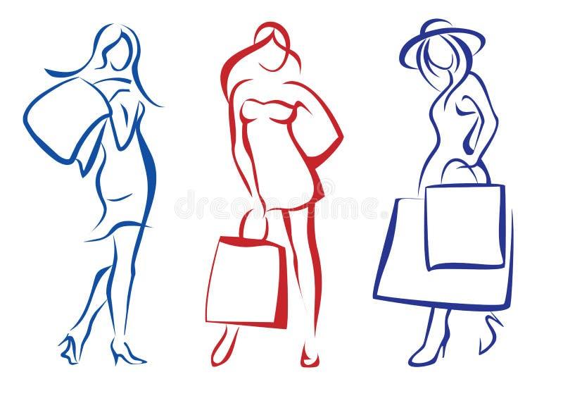 Kobieta z torba na zakupy, kolekcja royalty ilustracja