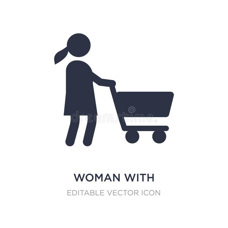kobieta z wózek na zakupy ikoną na białym tle Prosta element ilustracja od ludzi pojęć ilustracja wektor