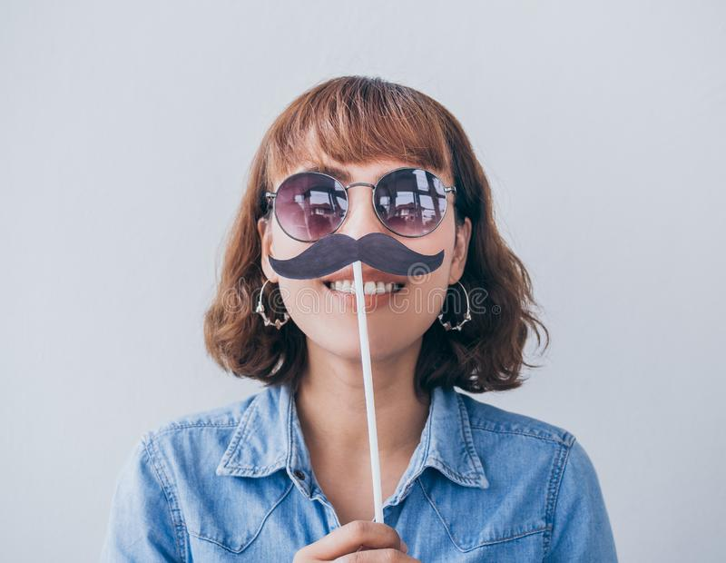 Kobieta z wąsy zdjęcia stock