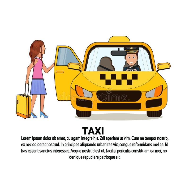 Kobieta Z walizki obsiadaniem W Żółtej taksówki taxi usługa Samochodowej ikonie Nad tłem Z kopii przestrzenią ilustracja wektor