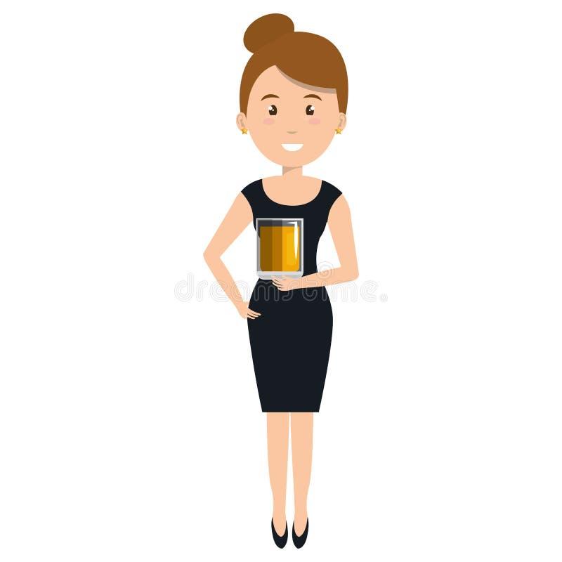 Kobieta z whisky szklanym napojem royalty ilustracja