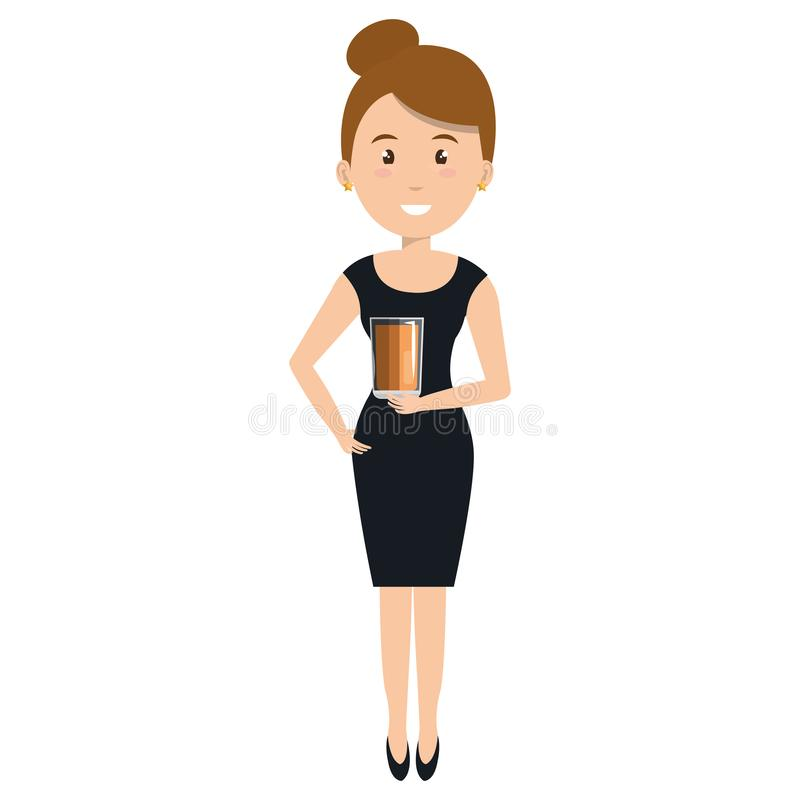 Kobieta z whisky szklanym napojem ilustracji