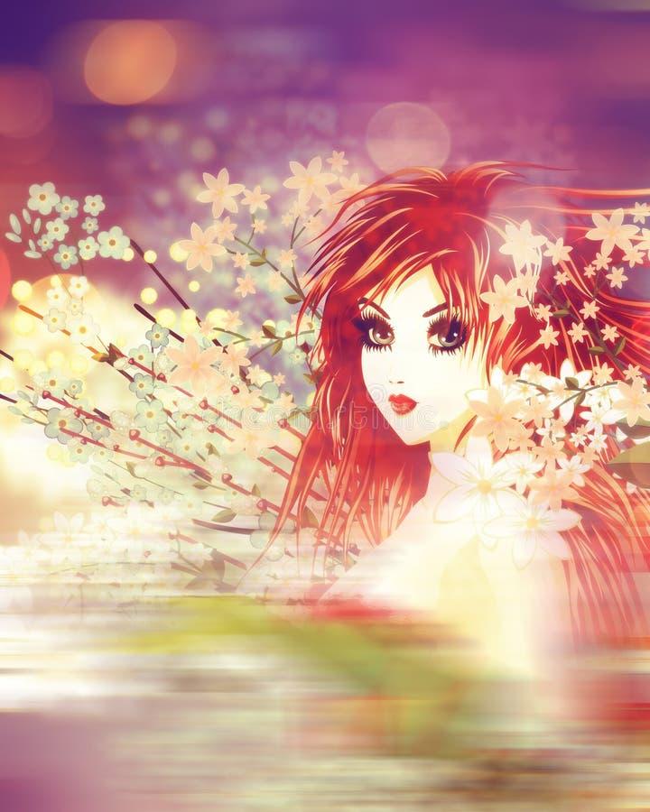 Kobieta z wiosna kwiatami ilustracji