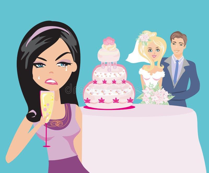 Kobieta z zazdrością na szczęśliwej ślub parze royalty ilustracja