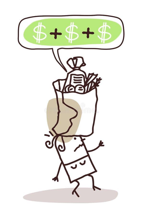 Kobieta z zbyt drogą jedzenie paczką ilustracja wektor