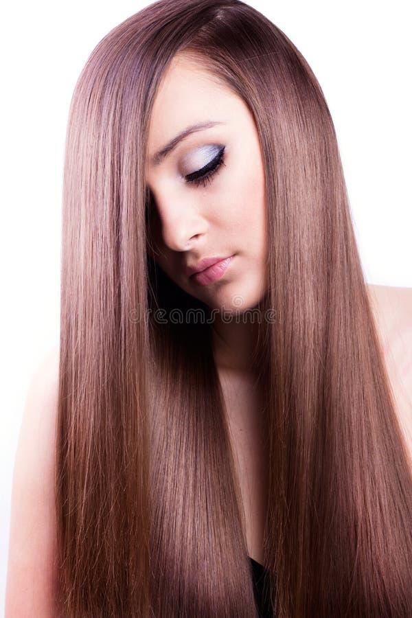 Kobieta z zdrowy długie włosy obrazy stock