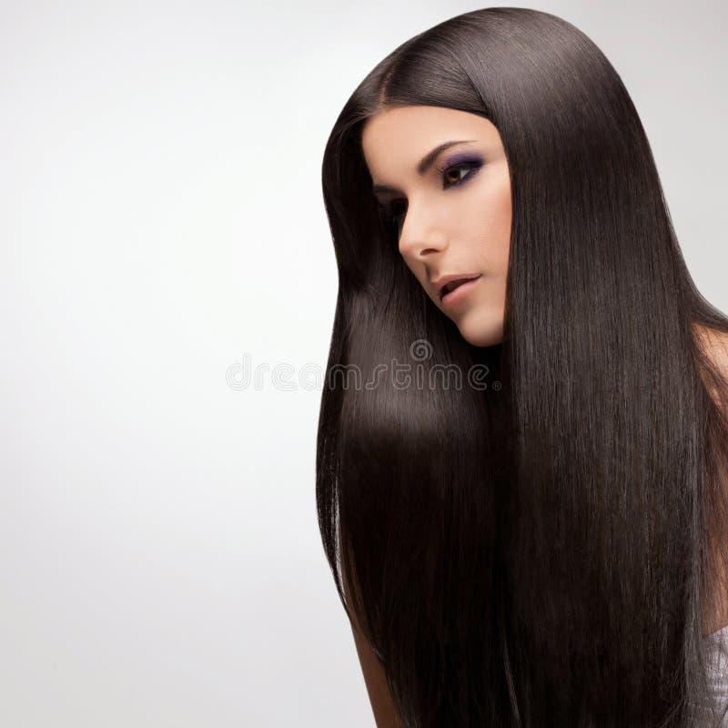 Kobieta z Zdrowy Długie Włosy obrazy royalty free