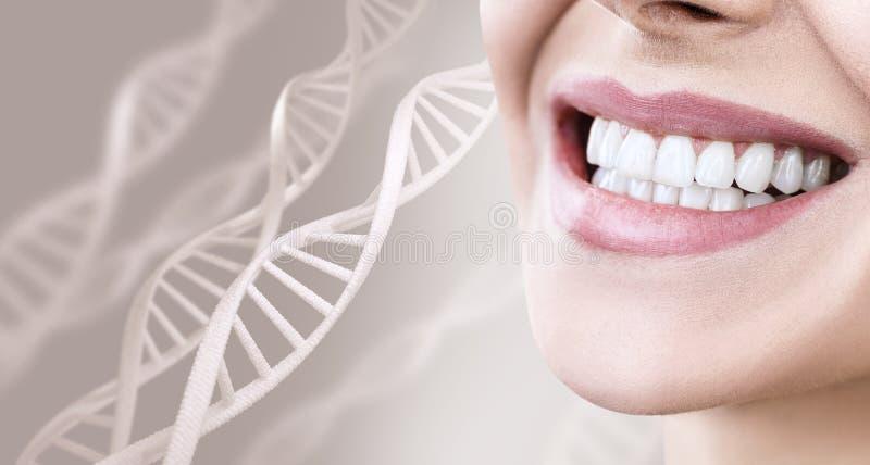 Kobieta z zdrowymi zębami i uśmiechem wśród DNA łańcuchów obraz royalty free