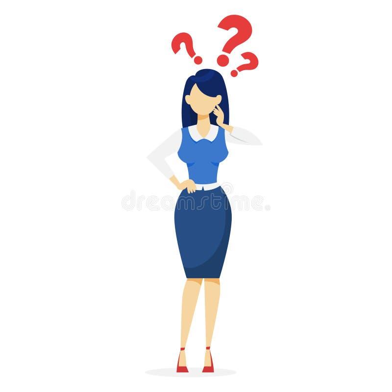 Kobieta z znak zapytania nad Pomysł wątpliwość royalty ilustracja