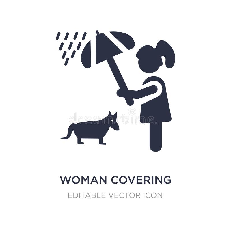 kobieta zakrywa jej zwierzęcia domowego z parasolową ikoną na białym tle Prosta element ilustracja od ludzi pojęć ilustracji