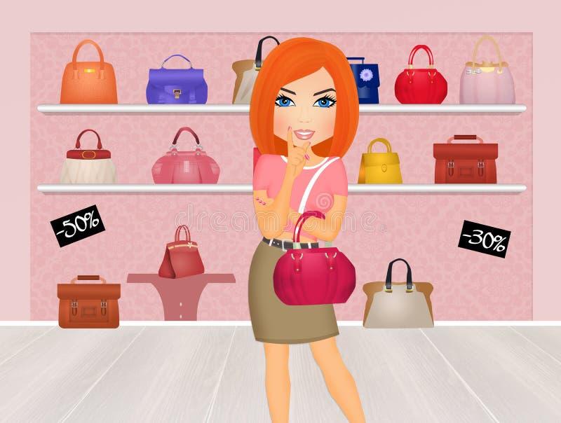 Kobieta zakupu torebki royalty ilustracja