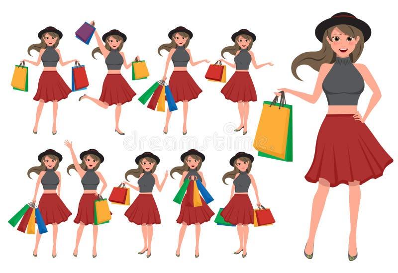 Kobieta zakupy charakteru wektoru set Dziewczyny postać z kreskówki ilustracja wektor