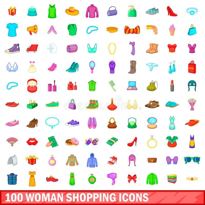 100 kobieta zakupy ikon ustawiających, kreskówka styl ilustracji