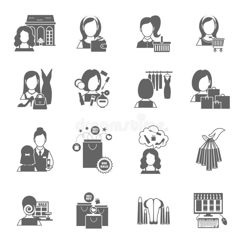Kobieta zakupy ikony czerń ilustracji