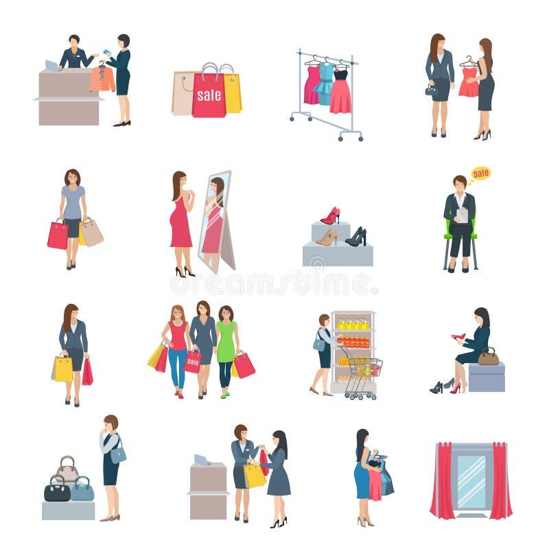 Kobieta zakupy mieszkania ikony ilustracja wektor