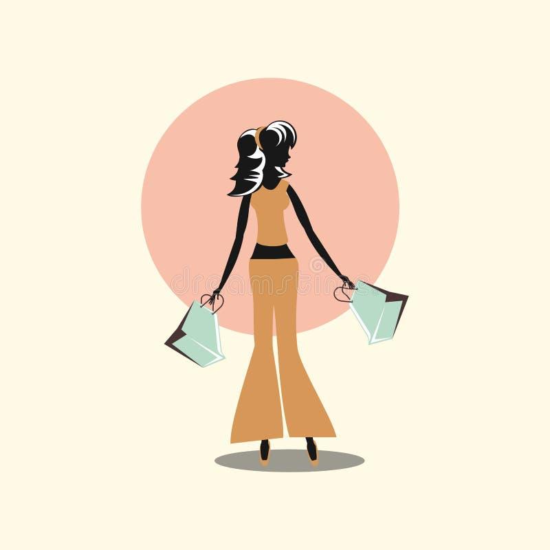 Kobieta zakupy papieru torebek retro styl royalty ilustracja
