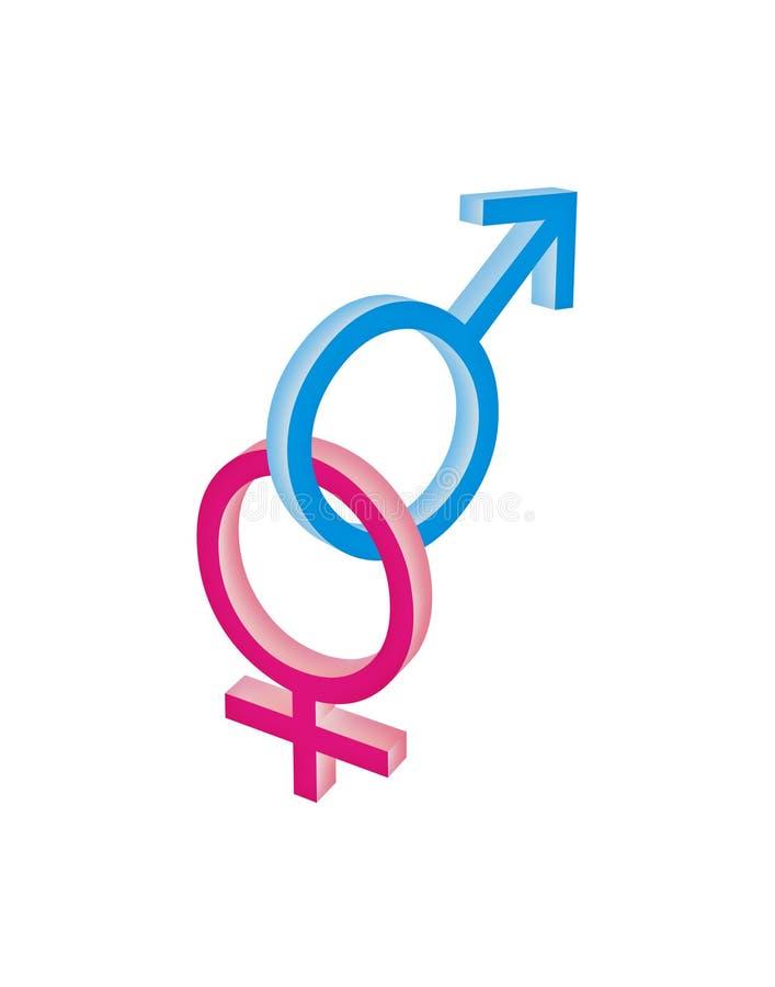 kobieta ze sobą powiązane męski symbol ilustracji