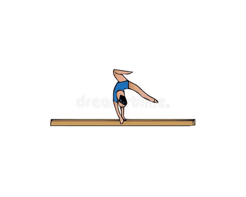 Kobiety ćwiczenie na balansowym promieniu Kobieta sporta gimnastyka na białym tle ilustracji