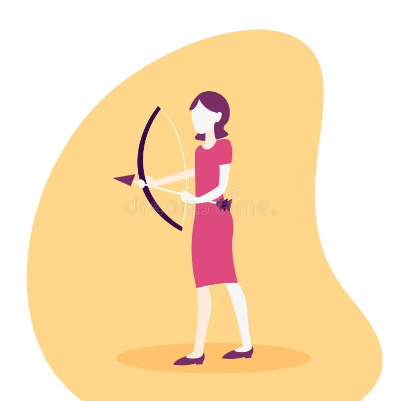Kobiety łuczniczki mienia łęku biznesowego celu strzałkowatego pojęcia sporta aktywności żeński postać z kreskówki folował długoś ilustracja wektor
