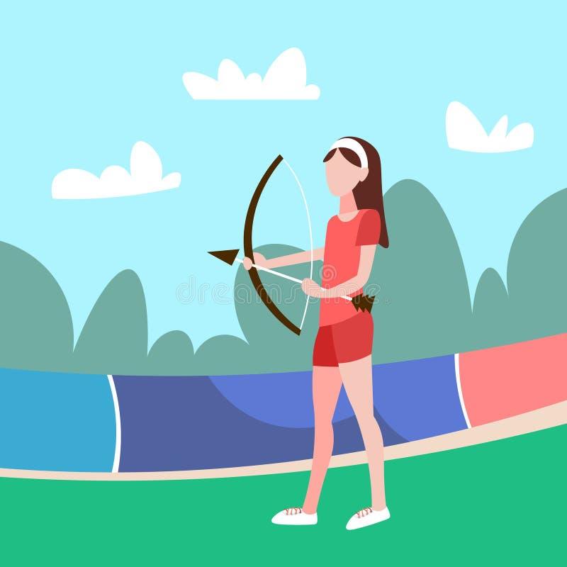 Kobiety łuczniczki mienia łęku sporta aktywności strzałkowaty żeński postać z kreskówki folował długości mieszkanie royalty ilustracja