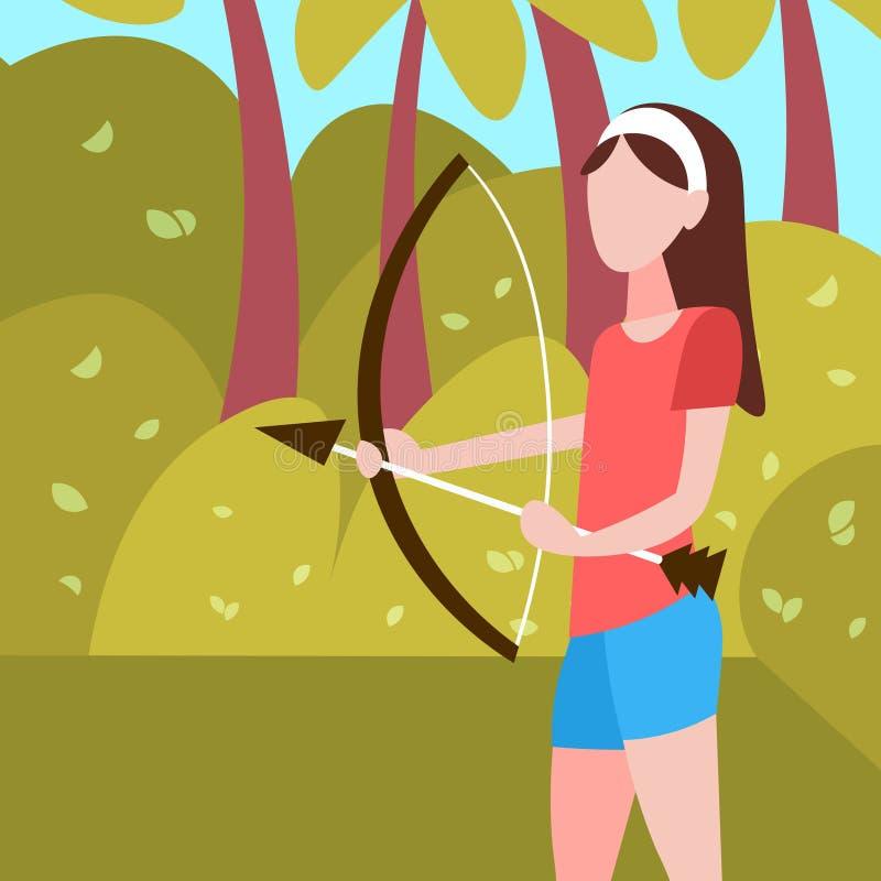 Kobiety łuczniczki mienia łęku strzała krajobrazu tła sporta aktywności żeński postać z kreskówki folował długości mieszkanie ilustracji