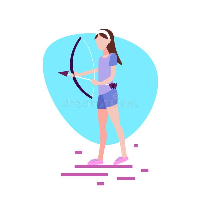 Kobiety łuczniczki mienia łęku strzałkowatego białego tła sporta aktywności żeński postać z kreskówki folował długości mieszkanie ilustracja wektor