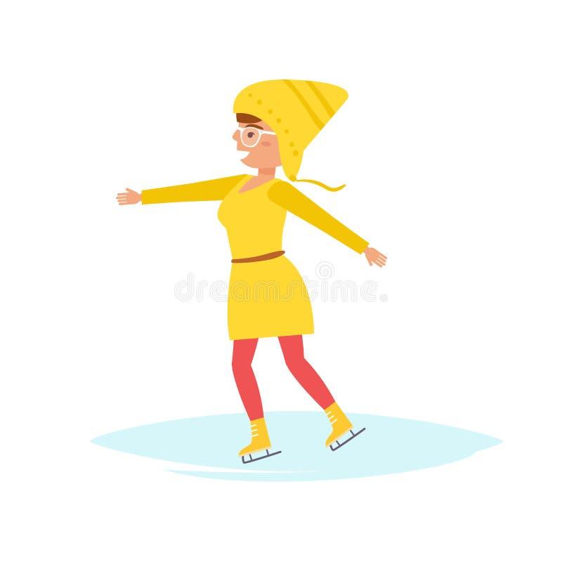 Kobiety łyżwa na lodowisku ilustracji