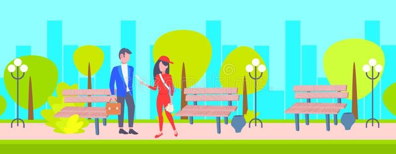 Kobiety advertiser daje reklamować ulotki biznesmen zakłóca pojęcia miasta jawnego parka pejzażu miejskiego tło folował ilustracji