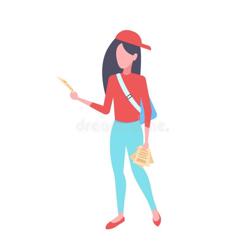 Kobiety advertiser lub organizator dziewczyna zakłóca reklamować ulotki zakłóca pojęcie żeńskie postacie z kreskówki folowaliśmy ilustracji