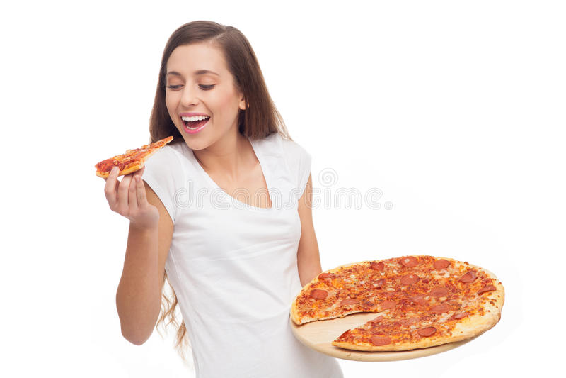 Kobiety łasowania Pizza Zdjęcia Royalty Free