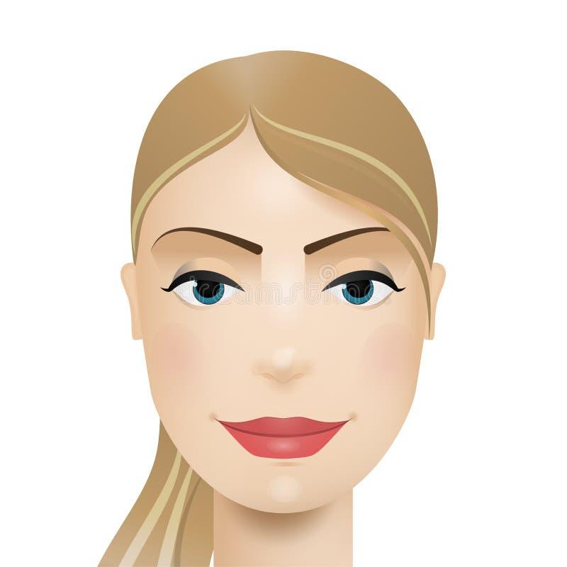 Kobiety avatar tła karcianej twarzy powitania strony szablonu ogólnoludzka sieci kobieta Wektorowa gradientowa ilustracja ilustracja wektor