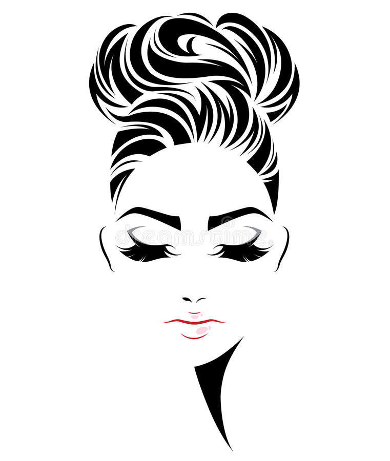 Kobiety babeczki włosianego stylu ikona, logo kobiety stawia czoło na białym tle