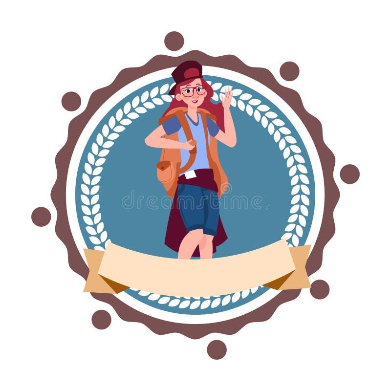 Kobiety Backpacker podróż Z plecakiem Wycieczkuje ikona szablon Odizolowywającego royalty ilustracja